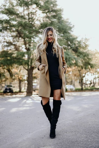 Black Bodycon Dress with Brown Overcoat