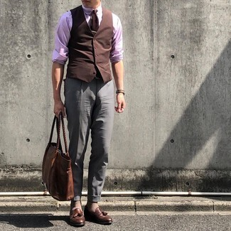 Brown Waistcoat and Trousers with Light Pink Shirt